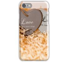 couple of wooden love hearts iPhone Case/Skin