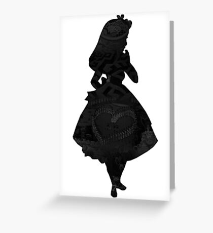 Alice in Wonderland , Black Picture Silhouette Greeting Card