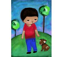 Boy and Dog Photographic Print