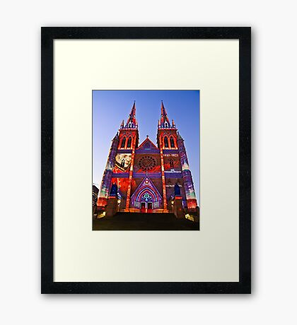St Marys Cathedral (Governor Macquarie) - Vivid Festival - Sydney - Australia Framed Print