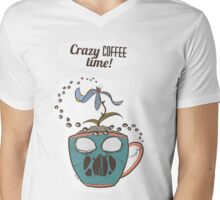 Crazy Coffee Mug Mens V-Neck T-Shirt