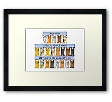 Cats celebrating a birthday on August 14th Framed Print