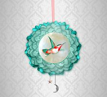 Hummingbird, Moon and Star by Eva Nev