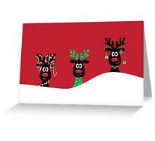 Santa's Three Favorite Reindeer Greeting Card