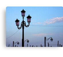 Lamps Along the Grand Canal - Venice Canvas Print