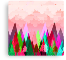 Misty Mountains (pink) Canvas Print