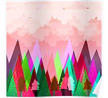 Misty Mountains (pink) Poster