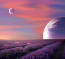 alien planets lavender fields nature surreal fantasy sunset sunrise plants by druidwolfart