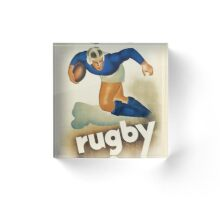 Vintage Art Deco Rugby sport travel poster  Acrylic Block