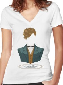 Newt Scamander - Fantastic Beasts and where to find them Women's Fitted V-Neck T-Shirt