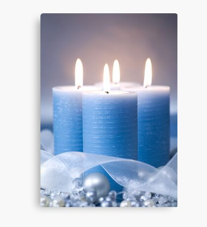 Christmas Candles & Ribbon Canvas Print