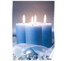 Christmas Candles & Ribbon Poster