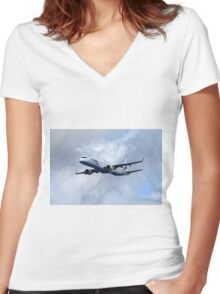 Flybe regional airline company Embraer 195 Women's Fitted V-Neck T-Shirt