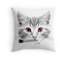 Blunt Kitty Smoking Cat Throw Pillow
