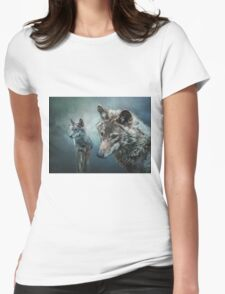 Wolves in Moonlight Womens Fitted T-Shirt