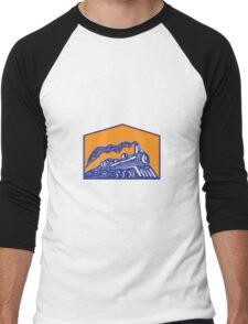 Steam Locomotive Train Coming Crest Retro Men's Baseball ¾ T-Shirt