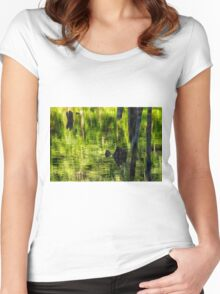 reflection, beaver pond, green, Gatineau park Women's Fitted Scoop T-Shirt