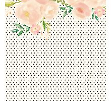 Modern,trendy,chic,pattern,mini polka dots, black,beige,water color floral paintings, country chic,elegant,pink,green,yellow,orange Photographic Print