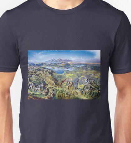 Heinrich Berann Yellowstone National Park Relief Map Unisex T-Shirt