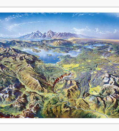 Heinrich Berann Yellowstone National Park Relief Map Sticker