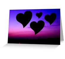 Hearts on blue sky and purple Greeting Card