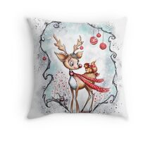 Reindeer and Squirrel - Creepy Cute Christmas Throw Pillow