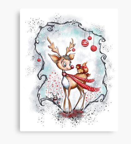 Reindeer and Squirrel - Creepy Cute Christmas Canvas Print