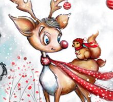Reindeer and Squirrel - Creepy Cute Christmas Sticker
