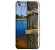Rope swing hanging from tree above lake iPhone Case/Skin