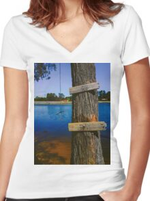 Rope swing hanging from tree above lake Women's Fitted V-Neck T-Shirt