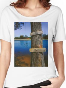 Rope swing hanging from tree above lake Women's Relaxed Fit T-Shirt