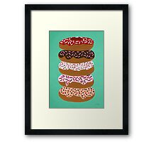 Donuts Stacked on Mint Framed Print