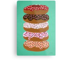 Donuts Stacked on Mint Metal Print