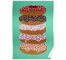 Donuts Stacked on Mint Poster