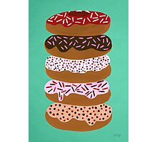 Donuts Stacked on Mint Photographic Print