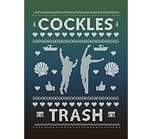 Cockles Trash Ugly XMAS Sweater - White Photographic Print
