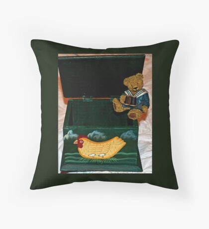 Teddy In The Box Throw Pillow