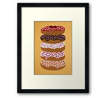 Donuts Stacked on Yellow Framed Print