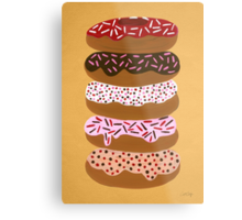 Donuts Stacked on Yellow Metal Print