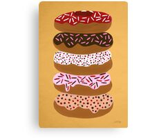Donuts Stacked on Yellow Canvas Print
