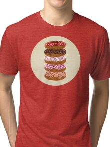 Donuts Stacked on Cream Tri-blend T-Shirt
