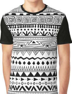 Black and White Tribal Print Graphic T-Shirt