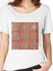 snow flakes in silver, gold polka dots on deep red background, modern,trendy,pattern,winter,chrismas Women's Relaxed Fit T-Shirt