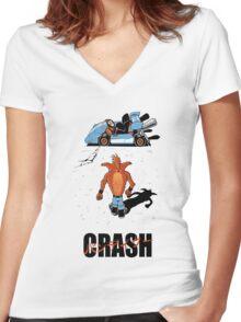 CRASH AKIRA Women's Fitted V-Neck T-Shirt