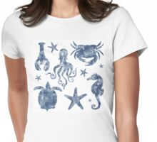 Delft Blue nautical Marine Life pattern, coastal beach Womens Fitted T-Shirt