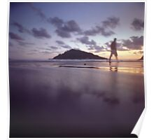 Man walking on beach dusk sunset evening sky Hasselblad medium format film analogue photograph Poster