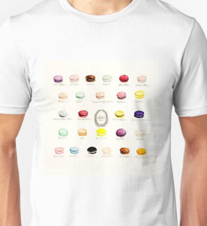 Laduree Macarons Flavor Menu Unisex T-Shirt