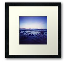 Coastal shoreline at low tide in blue Hasselblad medium format film analogue photography Framed Print