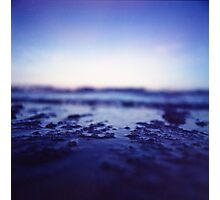 Coastal shoreline at low tide in blue Hasselblad medium format film analogue photography Photographic Print
