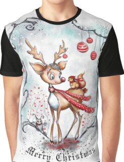 Reindeer and Squirrel - Merry Christmas Graphic T-Shirt